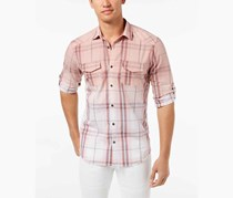 INC International Concepts Mens Dip-Dyed Plaid Shirt, Pale Mauve