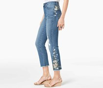 . Ripped Embroidered Crop Jeans, Blue