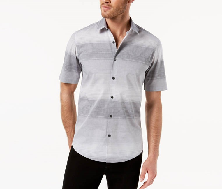 Mens Nick Ombre Shirt, Deep Black/Grey