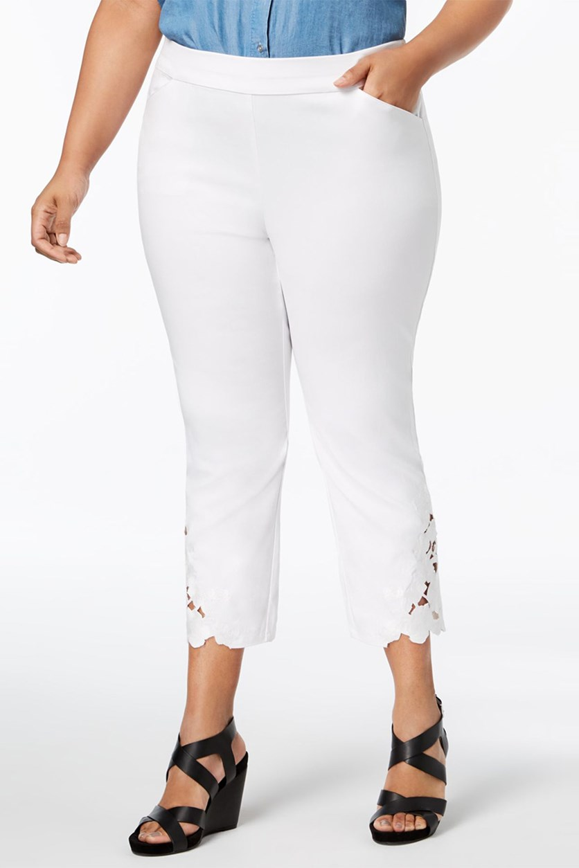 Plus Size Lace-Hem Capri Pants, Bright White