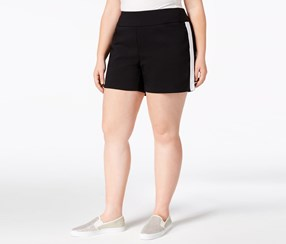 INC Women's Plus Size Racing-Stripe Shorts, Deep Black