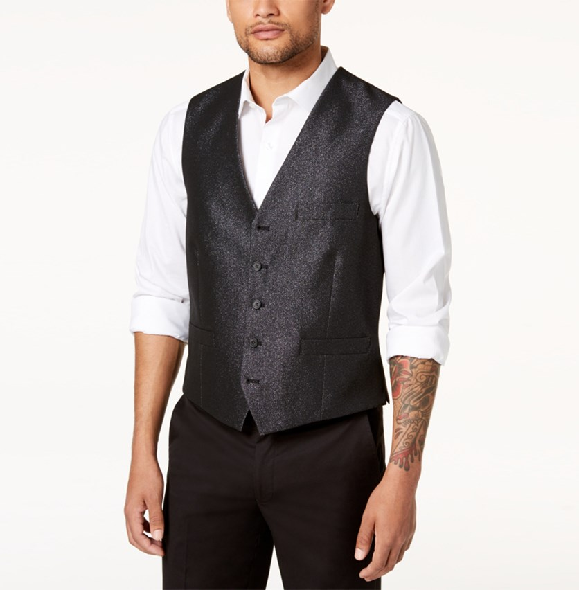 Men's Slim-Fit Embellished Vest, Deep Black