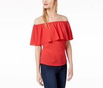 Bar III Women's Ruffled Off-The-Shoulder Top, Hibiscus Bloom