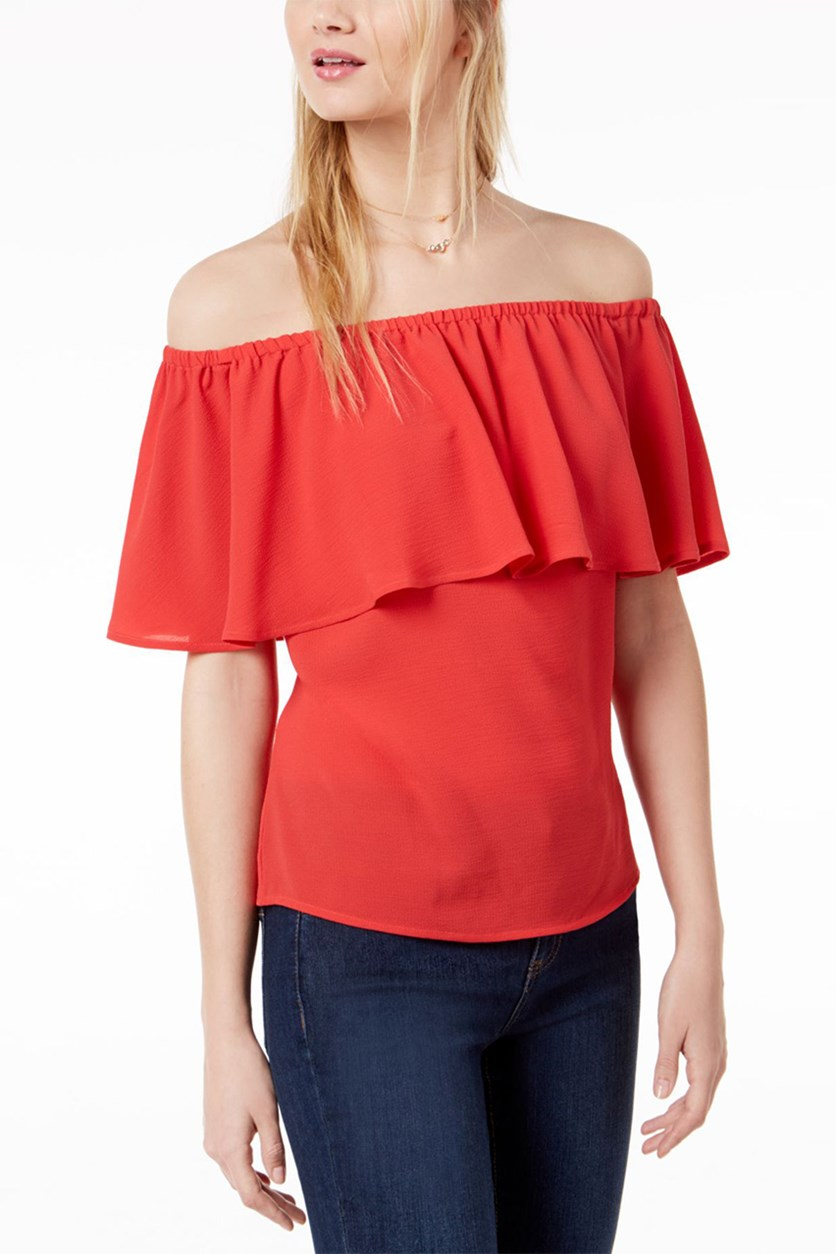 Women's Ruffled Off-The-Shoulder Top, Hibiscus Bloom