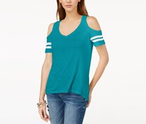 International Concepts Cold-Shoulder Varsity Top, Teal