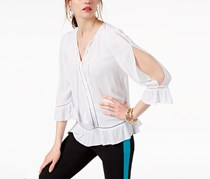 I.n.c. Cold-Shoulder Peasant Top, Bright White