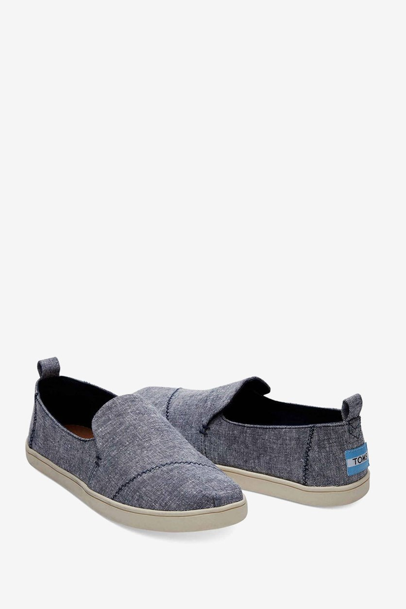 Deconstructed Alpargata Shoes, Navy Slub Chambray