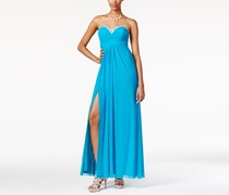 Jump Apparel Embellished Crisscross-Strap Empire Gown, Turquoise