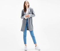 Bershka Women's Hooded Cardigan, Charcoal Heather
