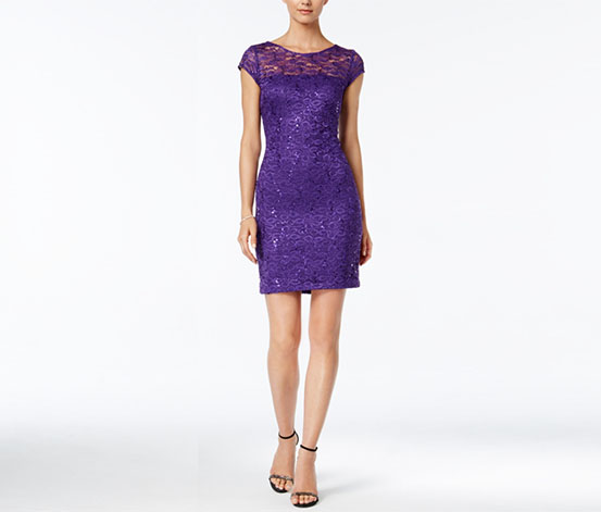 Nine West Women's Sequin Lace Sheath Dress, Purple