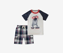 Kids Headquarters Baby Boys 2-Pcs. Graphic-Print Set, White Combo