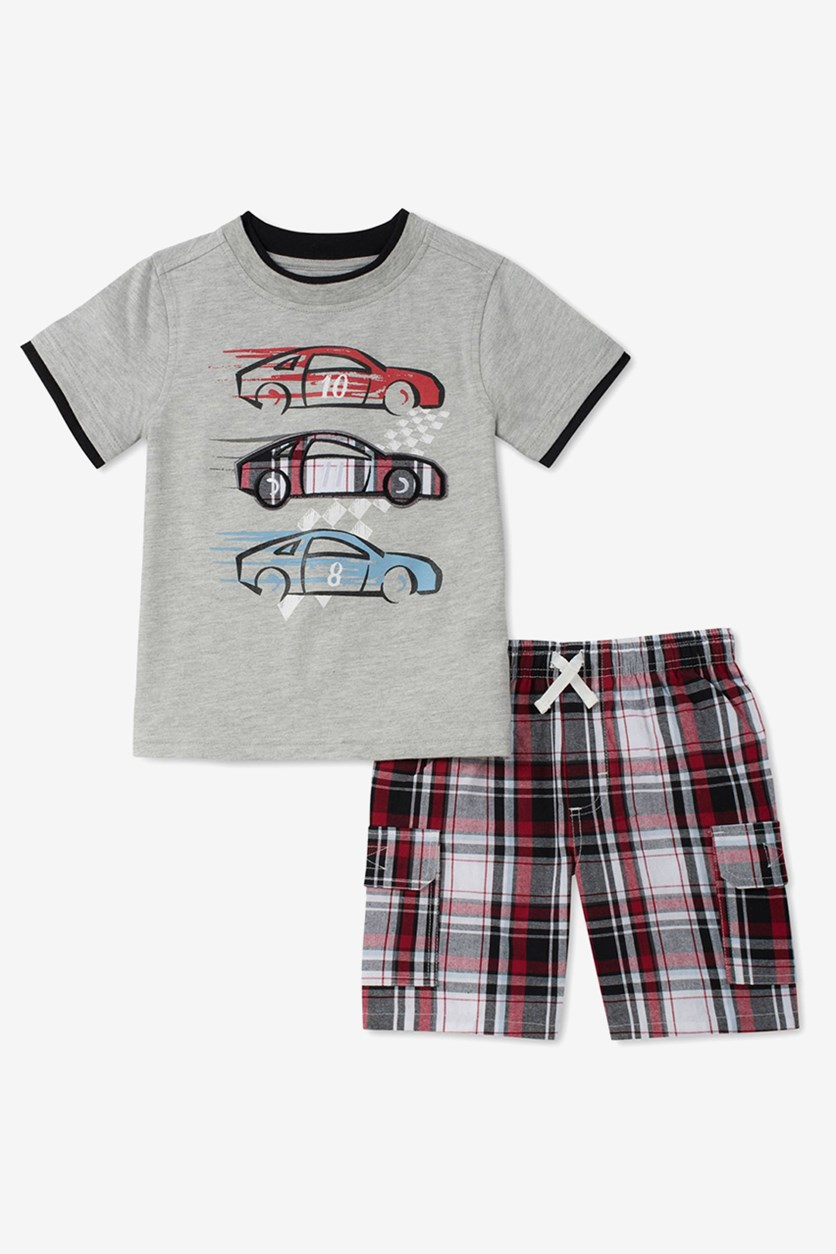 Baby Boys 2-Pcs. Graphic-Print Set, Gray Combo