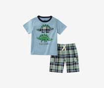 Kids Headquarters Baby Boys 2-Pcs. Graphic-Print Set, Blue/Green Combo
