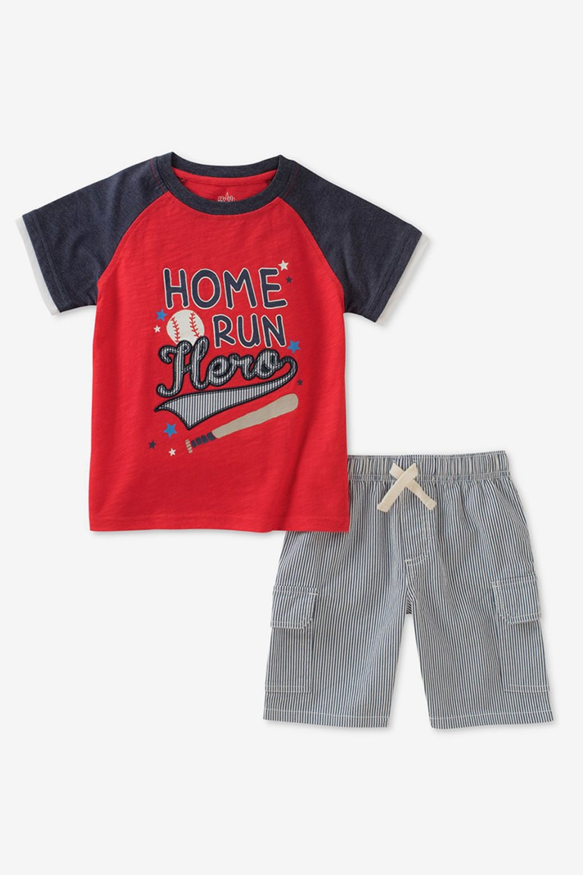 Baby Boys 2-Pcs. Graphic-Print Set, Red /Navy Combo