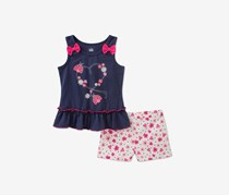 Kids Headquarters 2-Pc. Top & Floral-Print Shorts Set, Navy/Pink
