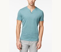 Alfani Solid Split Crew-Neck T-Shirt, Sea Mineral