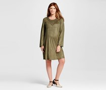 Ma Cherie Maternity Flare Sleeve Appliqued Front Faux Suede Dress, Olive Green