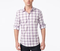 Alfani Men's Regular Fit Button Down Shirt, Purple/White