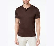 Alfani Mens Covered Placket Henley, Valhrona