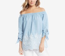 Karen Kane Cotton Embroidered Tie-Sleeve Tops, Powder Blue