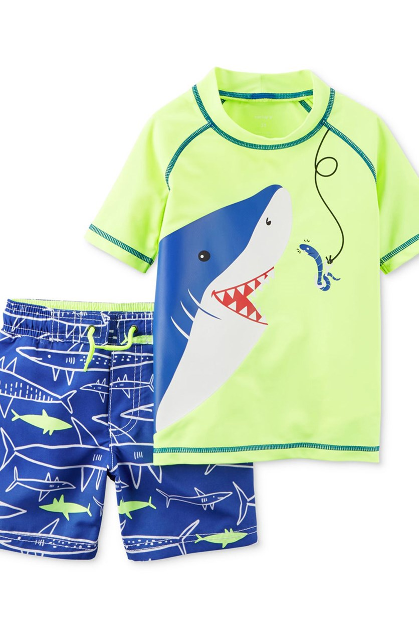 Carters 2-Pcs. Shark-Print Rashguard Set, Neon Green Combo