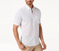 Club Room Men's Micro-Check Short-Sleeve Shirt with Pocket, Bright White