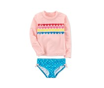 Carter's Toddler's Hearts Rash Guard Set, Peach/Blue