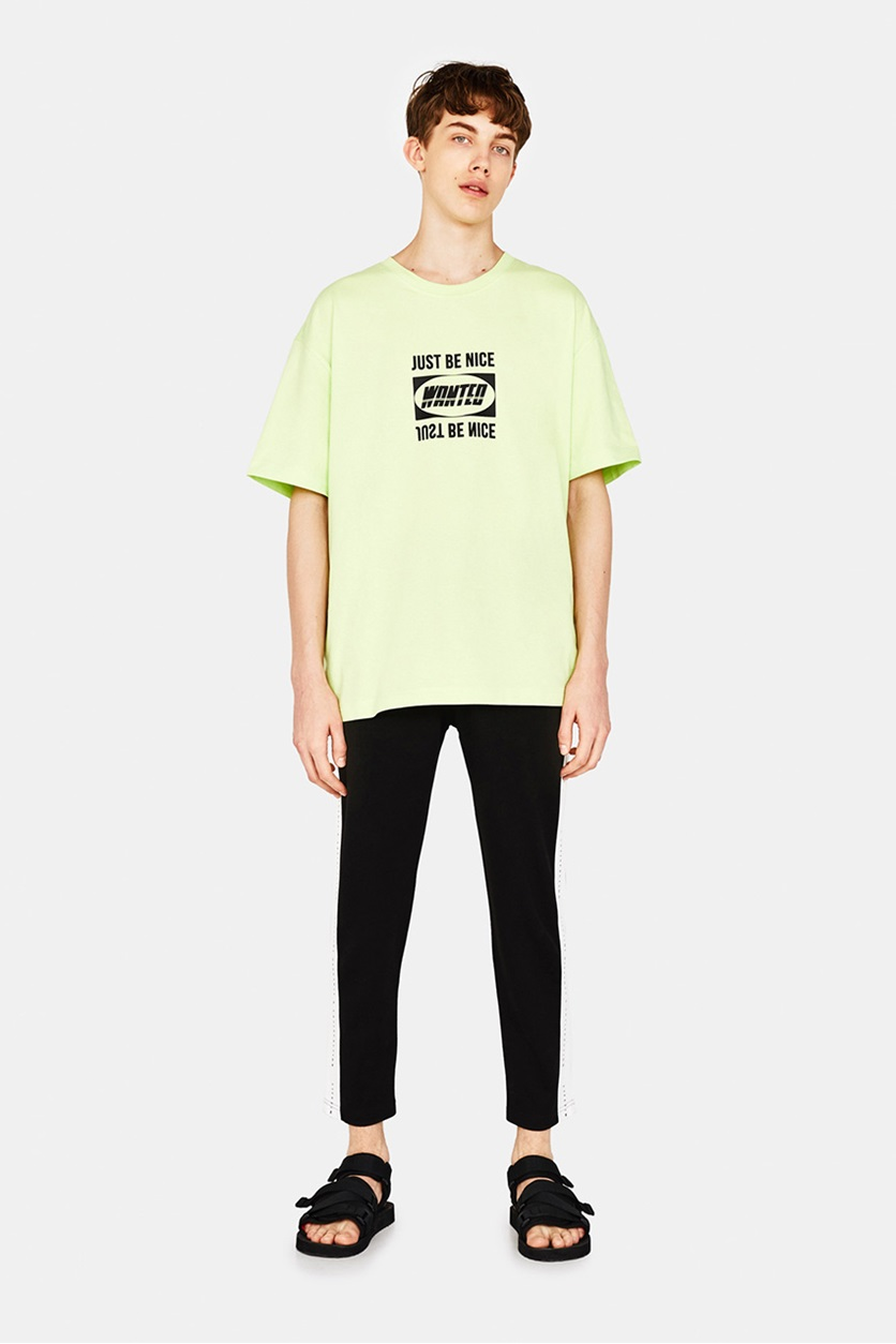 44888516832d4d Shop Bershka Bershka Men's Just Be Nice Printed T-Shirt, Lime Green ...
