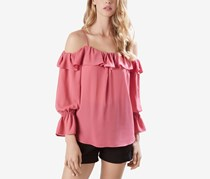 Karen Kane Ruffled Cold-Shoulder Top, Peony