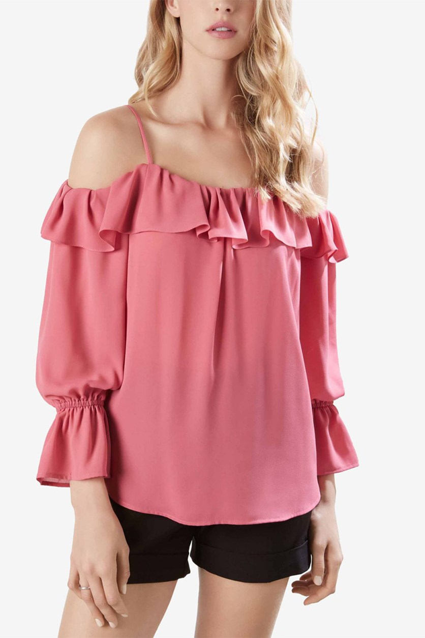 Ruffled Cold-Shoulder Top, Peony