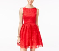 City Studios Women's Embellished U-Back Lace Fit Dress, Red