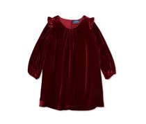 Polo Ralph Lauren Ruffle-Trim Velvet Dress, Holiday Red