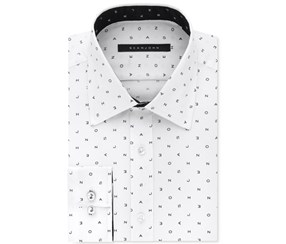 Sean John Men's Classic/Regular Fit Logo Print Dress Shirt, White