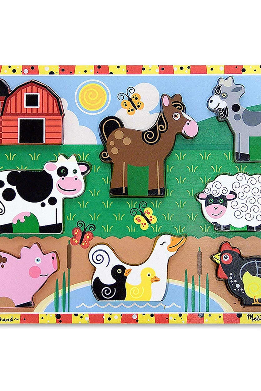 Melissa & Doug Farm Wooden Chunky Puzzle, Red