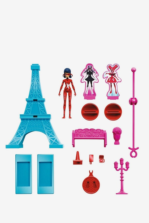 Miraculous Eiffel Tower Action Set Red Turquoise Pin
