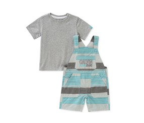 Calvin Klein 2-Pcs. T-Shirt Shortall Set, Grey Combo