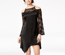 The Edit By Seventeen Juniors Lace-Trimmed Cold-Shoulder Dress, Black
