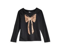 Epic Threads Girl's Graphic-Print Top, Black/Gold