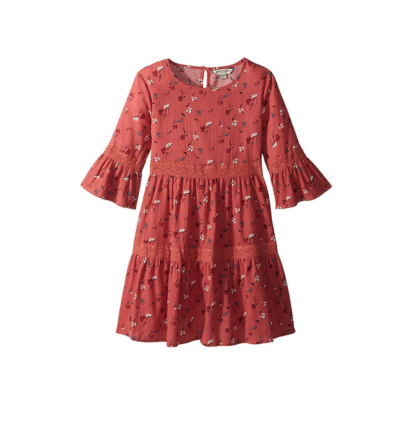 Kids Girl's Tatiana Floral Print Dress, Red