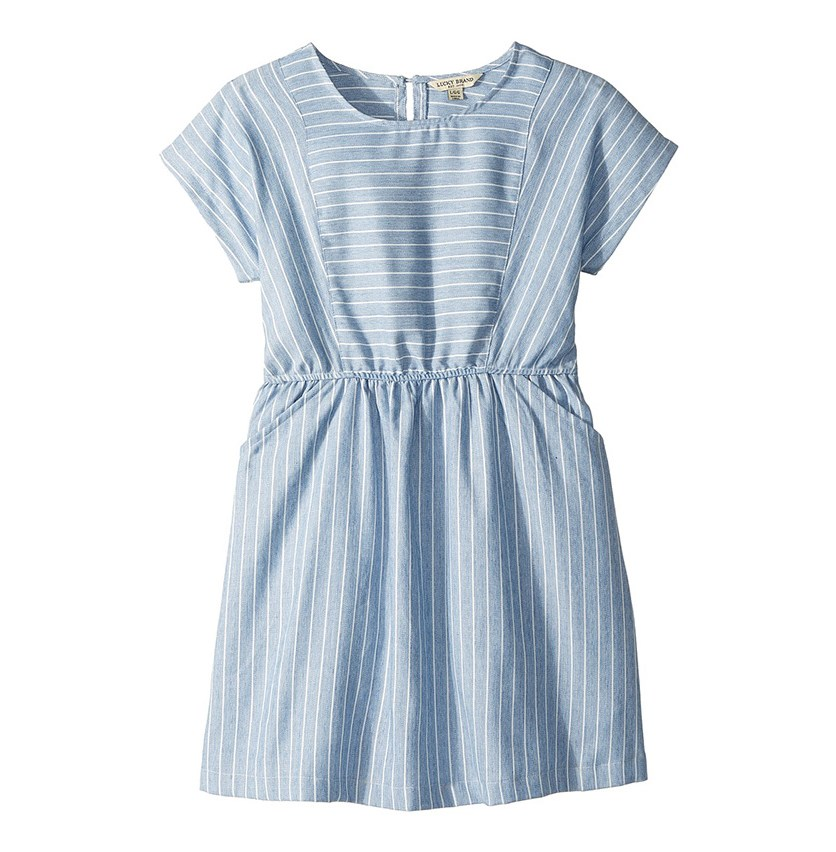 Kids Girl's Short Sleeve Stripe Erika Dress, Blue/White