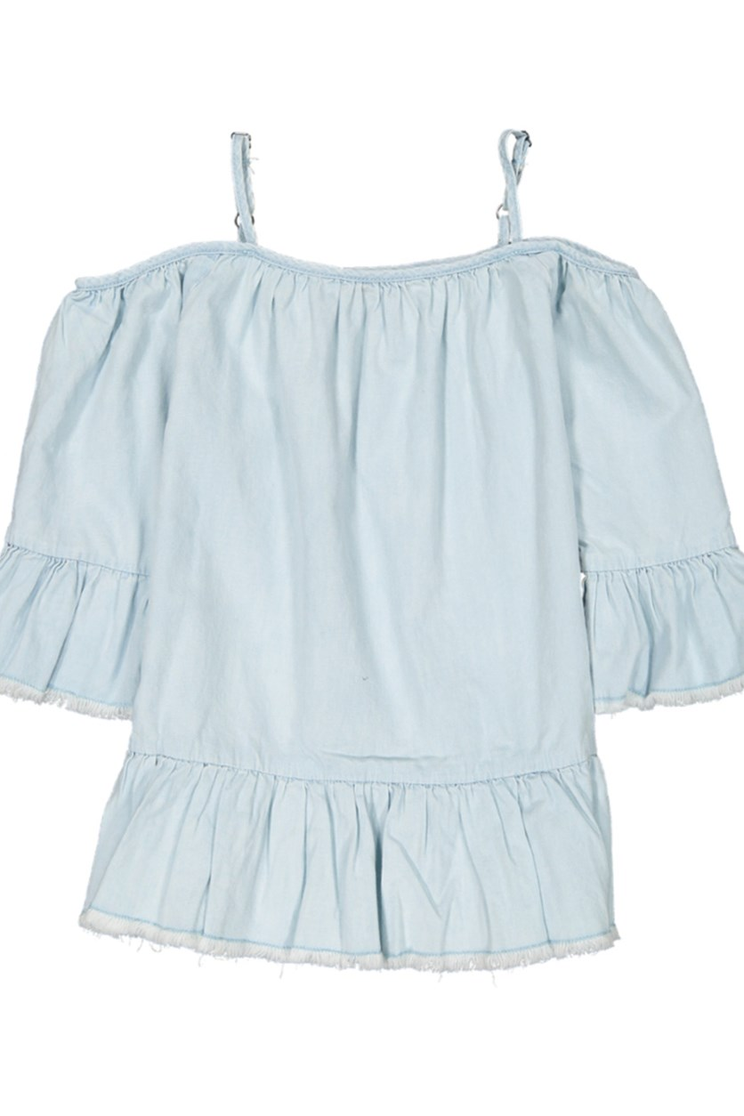 Kid's Girl's Cold Shoulder Top, Light Blue