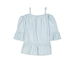 Lucky Brand Kid's Girl's Cold Shoulder Top, Light Blue