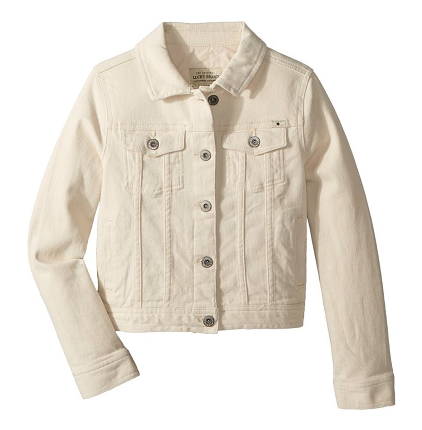 Kids Girl's Brianna Denim Long Sleeve Jacket, Beige