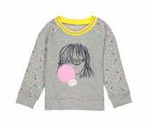 Gap Little Girls Printed Sweater, Gray Combo