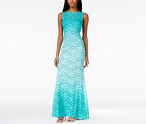 Jump Apparel Women's Tie-Back Ombre Glitter Lace Gown, Teal Ombre