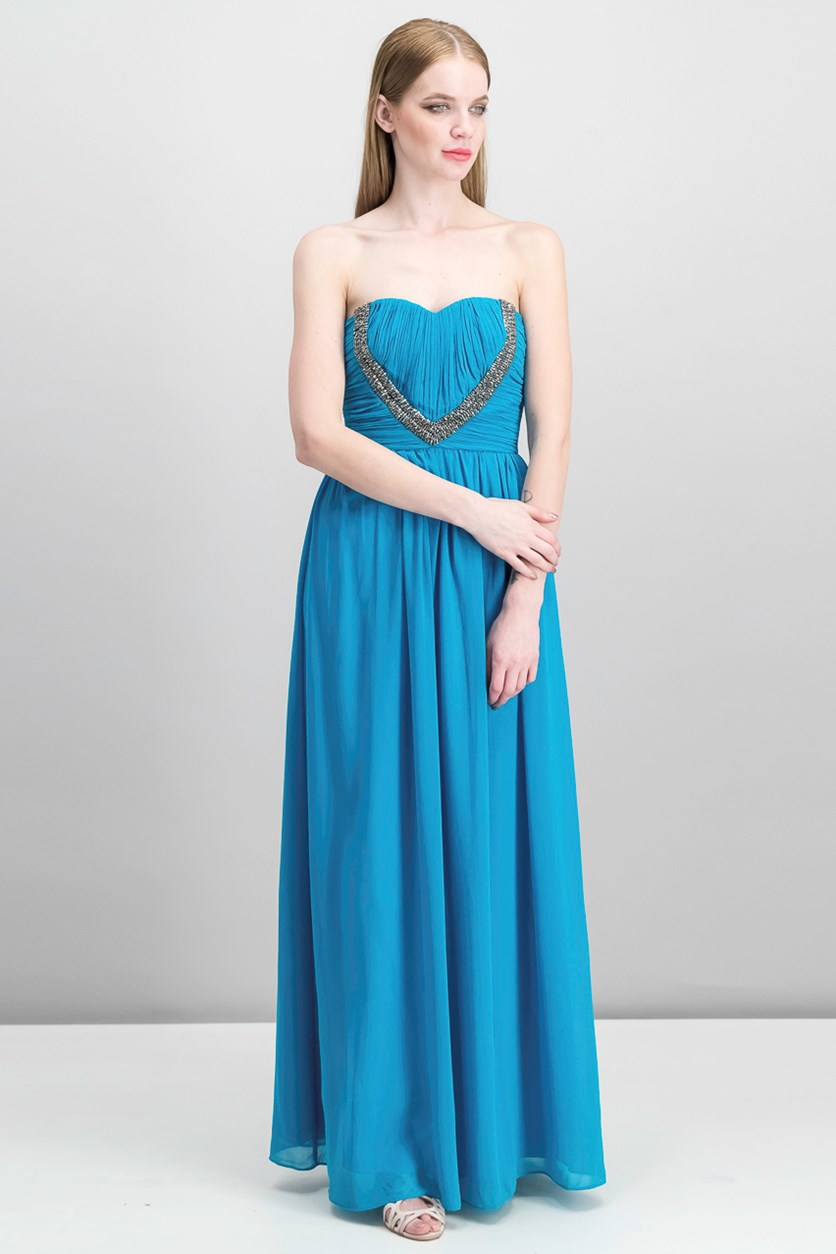 Women's Strapless Long Dress, Teal