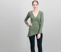 Jane Norman D-Ring Asymmetric Wrap Top, Olive