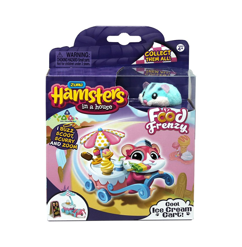 Hamsters In A House Hamster With Accessoories Cool Ice Cream Cart, Blue