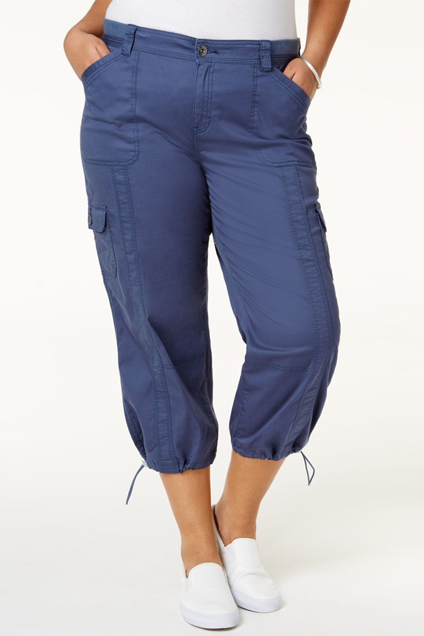 Women's Plus Size Capri Cargo Pants, Blue