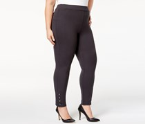 Style & Co Plus Size Ponte Knit Snap-Bottom Leggings, Carbon Grey